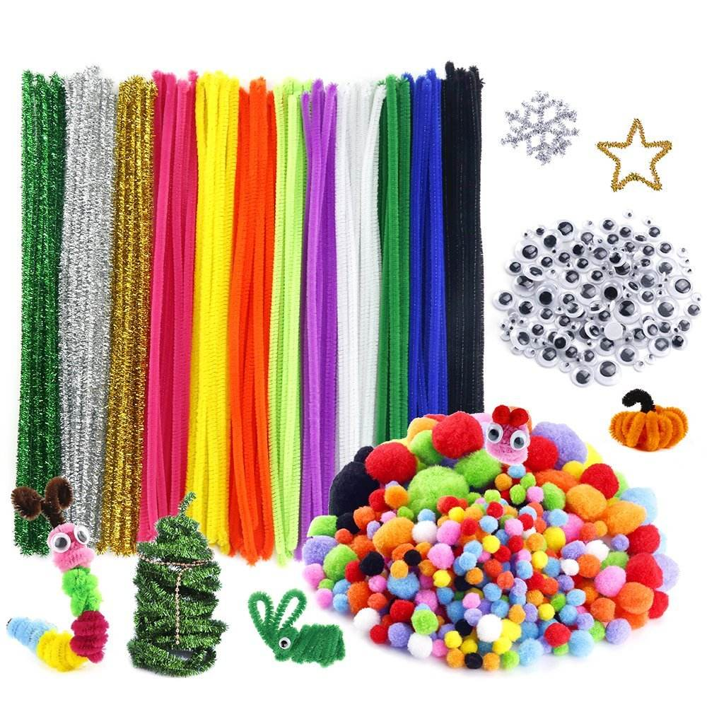 DIY Pipe Cleaners Craft Set Pom Poms Craft and Wiggle Googly Eyes Self Adhesive