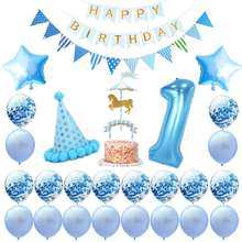 Umiss, 1st Birthday Boy Decorations Kit Baby Shower Decor, Blue White and Silver Supplies For The Best Party