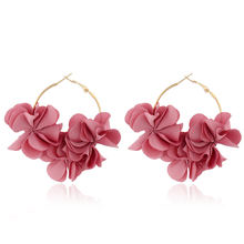 Fashion gold pink flower earrings with hoop Wholesale NS93253
