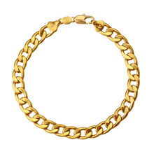 75019 Xuping jewelry cuban figaro dubai 24k gold plated men chain bracelet, mens jewellery
