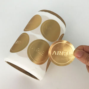 Custom Gold Foil Emboss Stickers, Adhesive Paper Embossed Label Printing Roll