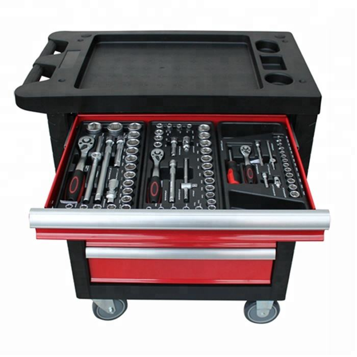 2018 Best Selling 6 drawers Garage Tool Cabinet Tool Trolley With Hand Tool Set