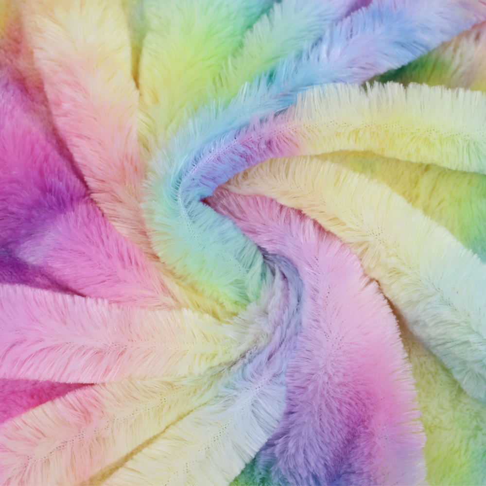 Pv Plush Curly Short Pile Plush Fabric Soft Tie Dye Printed Fur