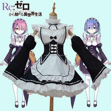 Maid Dress Cosplay Rem RamMaid Costume Sexy Lolita Apron Dress Set AGC3504