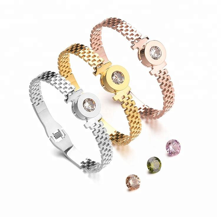 Lary Jewelry Ultra Thin Design Girls Open Bangle Inlaid Cubic Zirconia Stainless Steel Jewelry Gifts