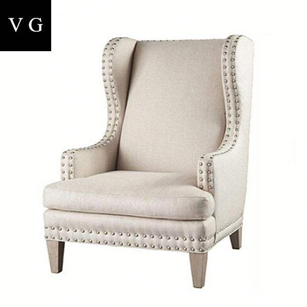 Soft Comfortable Wooden Leisure Chair Modern Upholstered High Wing Back Chairs Sales