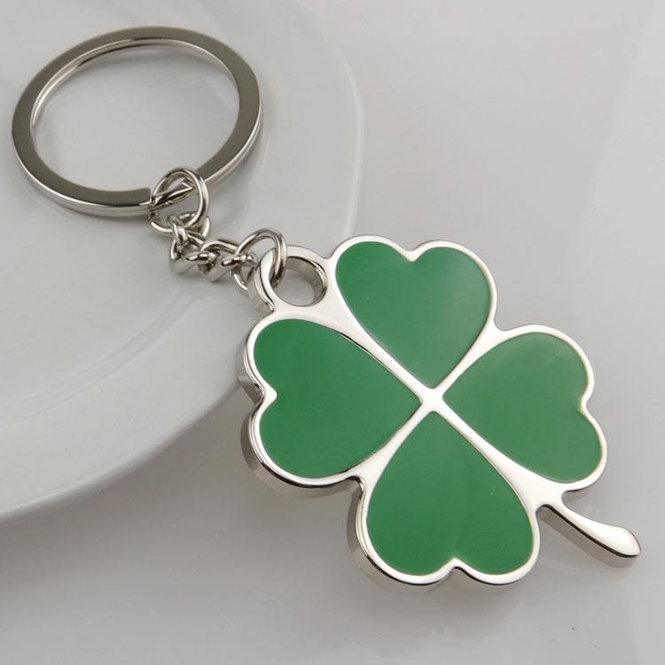 Stainless Green Leaf Keychain Fashion Creative Beautiful Four Leaf Clover Steel Lucky Key Chain Jewelry Keyring car