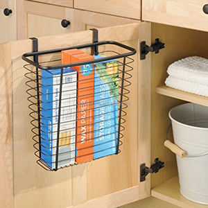 Over the Cabinet Door Hanging Basket Wastebasket Trash Can or Storage Basket for Kitchen - Black F0204,F0204-1
