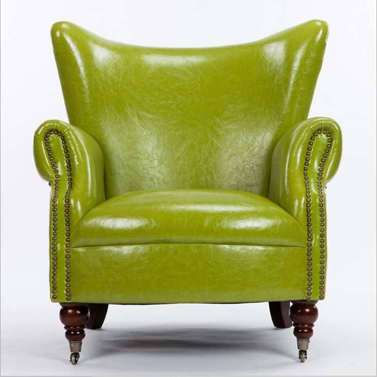 bright color leather wing chair sofa