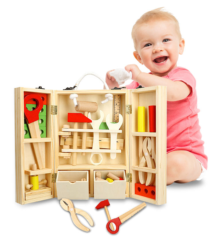 DIY Construction Toolbox Intelligence Educational Small Wooden Toys safe for kid