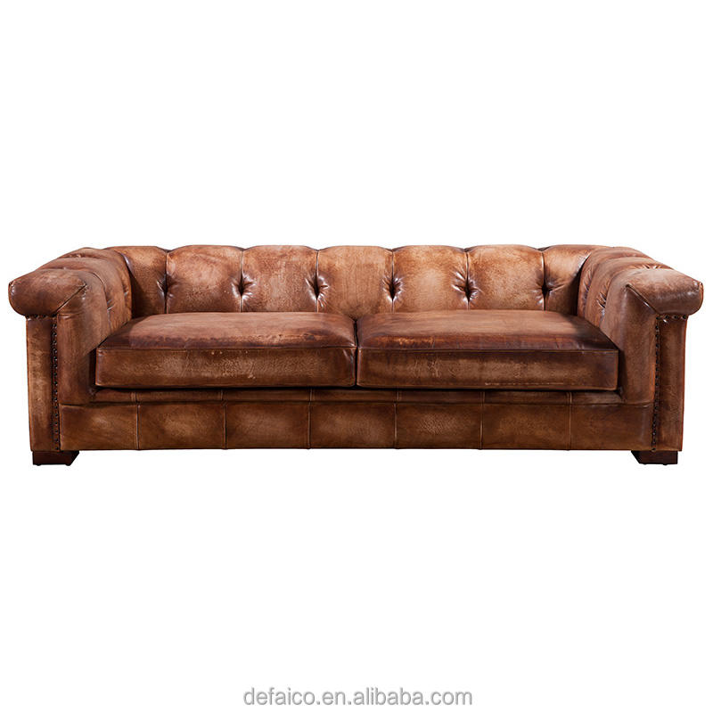 Old American Square Big Size Brushed Leather Sofa Set For Living Room Lobby