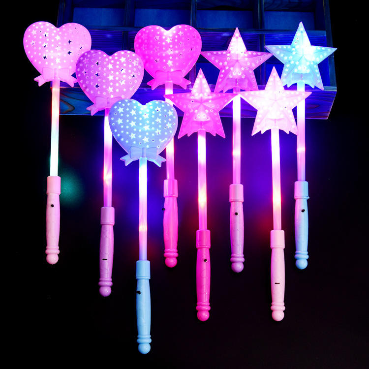 Star Heart Shaped Led Flashing Light Stick/Magic Wands Led Light Stick for Weddings Partys
