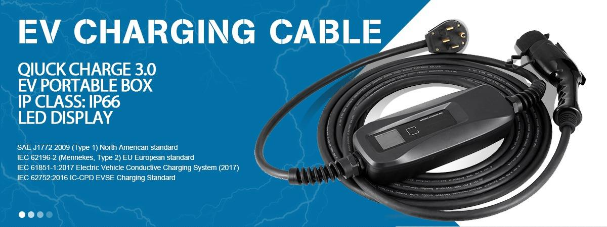 J1772 EV Charging Lead Cable Type 1 32amp with 5m Spiral Cable