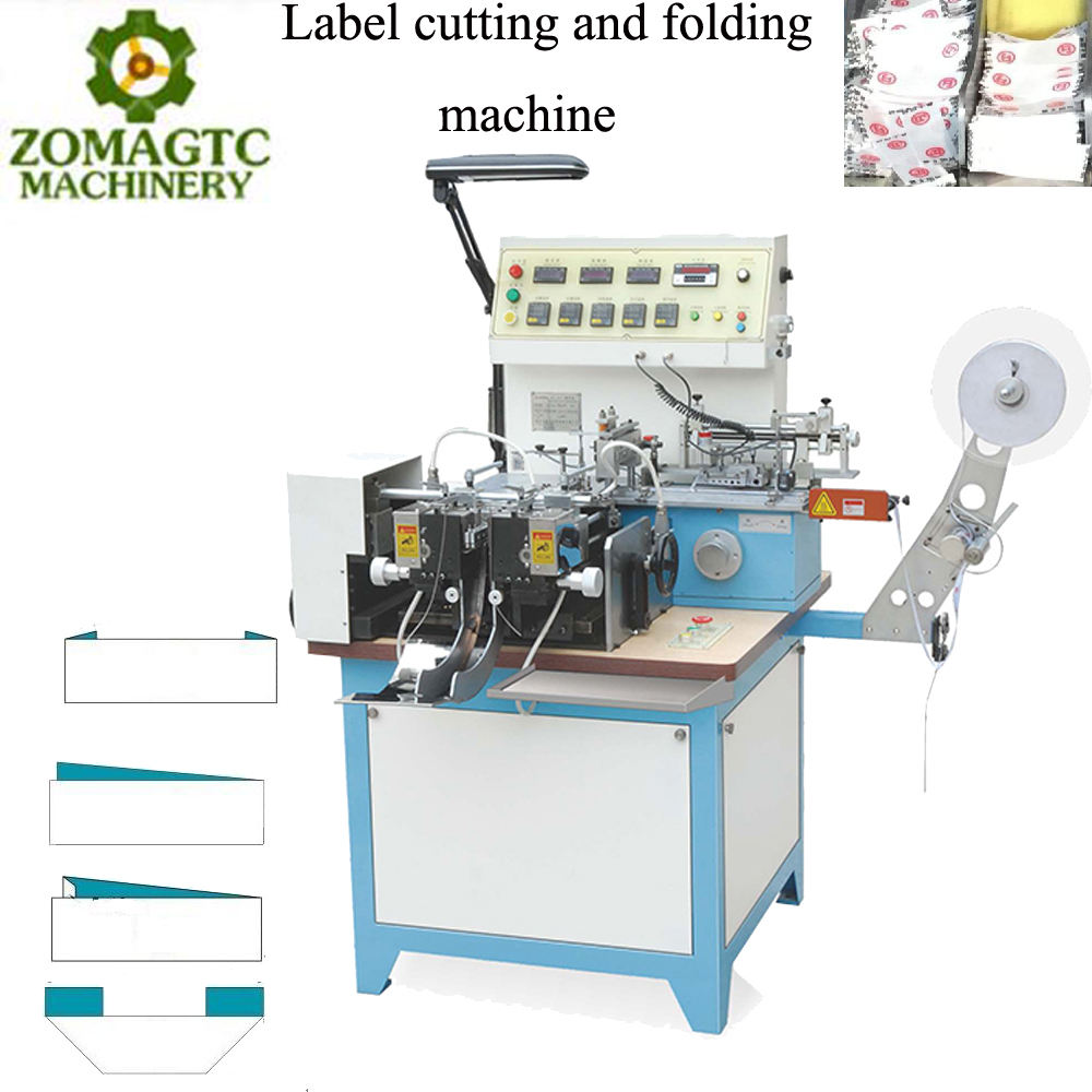 automatic label fabric cutting machine / ribbon label cut and fold machine