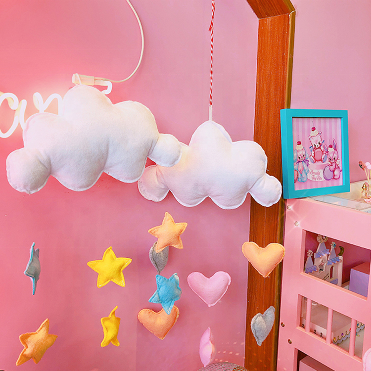Pink color home wall decoration felt hanging toy with moon shape