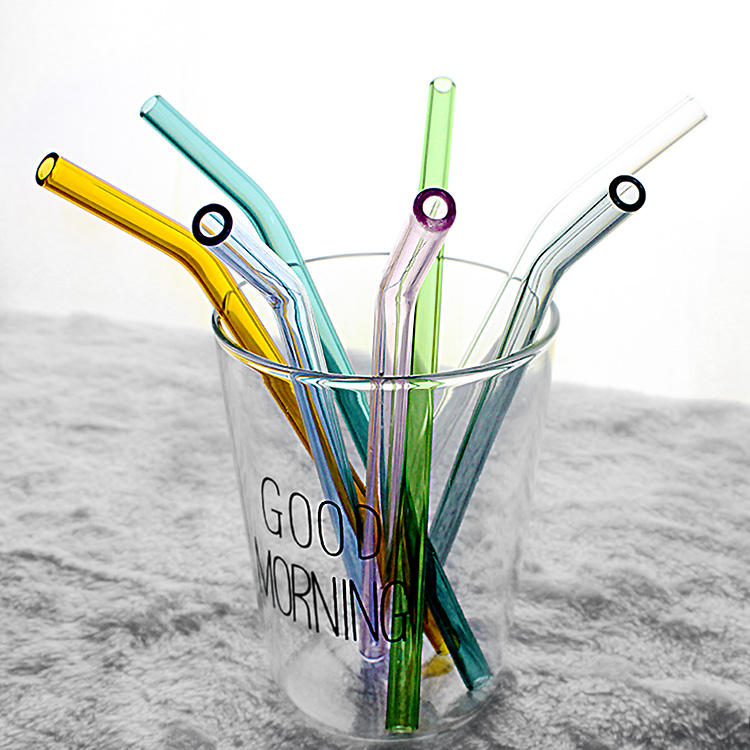 100% food grade colorful borosilicate bending glass straw