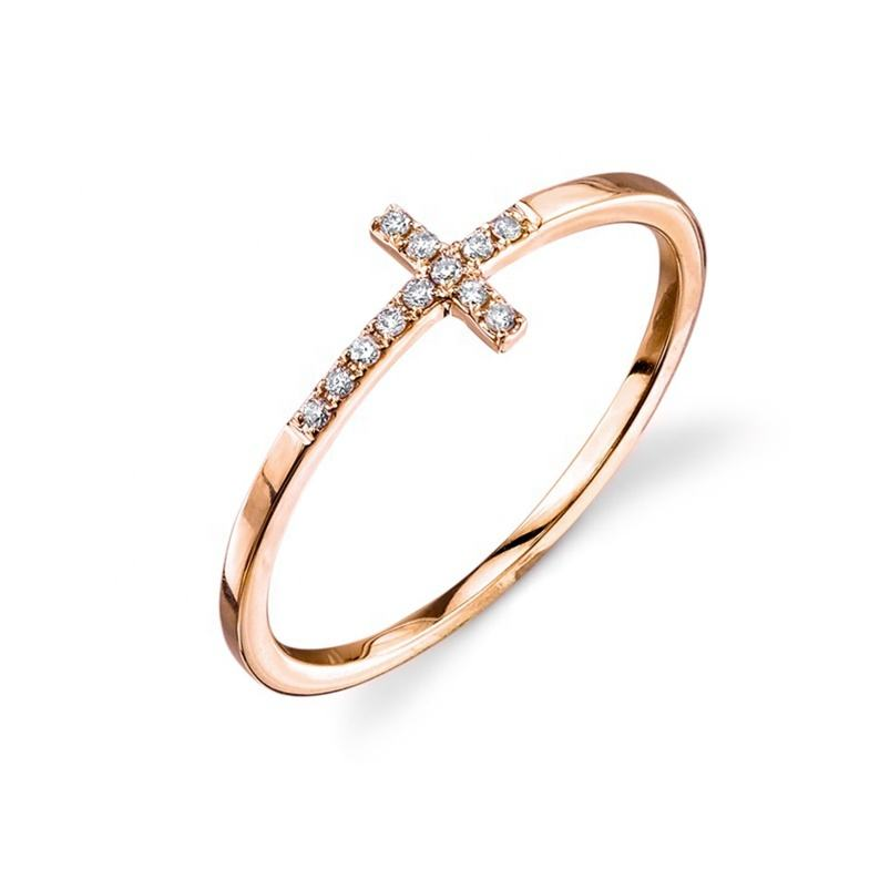 14K rose gold jewelry wholesale CZ micro pave eternity antique cross ring