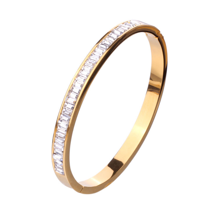 14K gold plated crystal bracelet women girl popular bangle jewelry for ladies