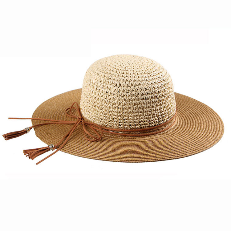 JAKIJAYI Wholesale High Quality Summer Wide Brim String Decoration Crochet Straw Hat For Ladies