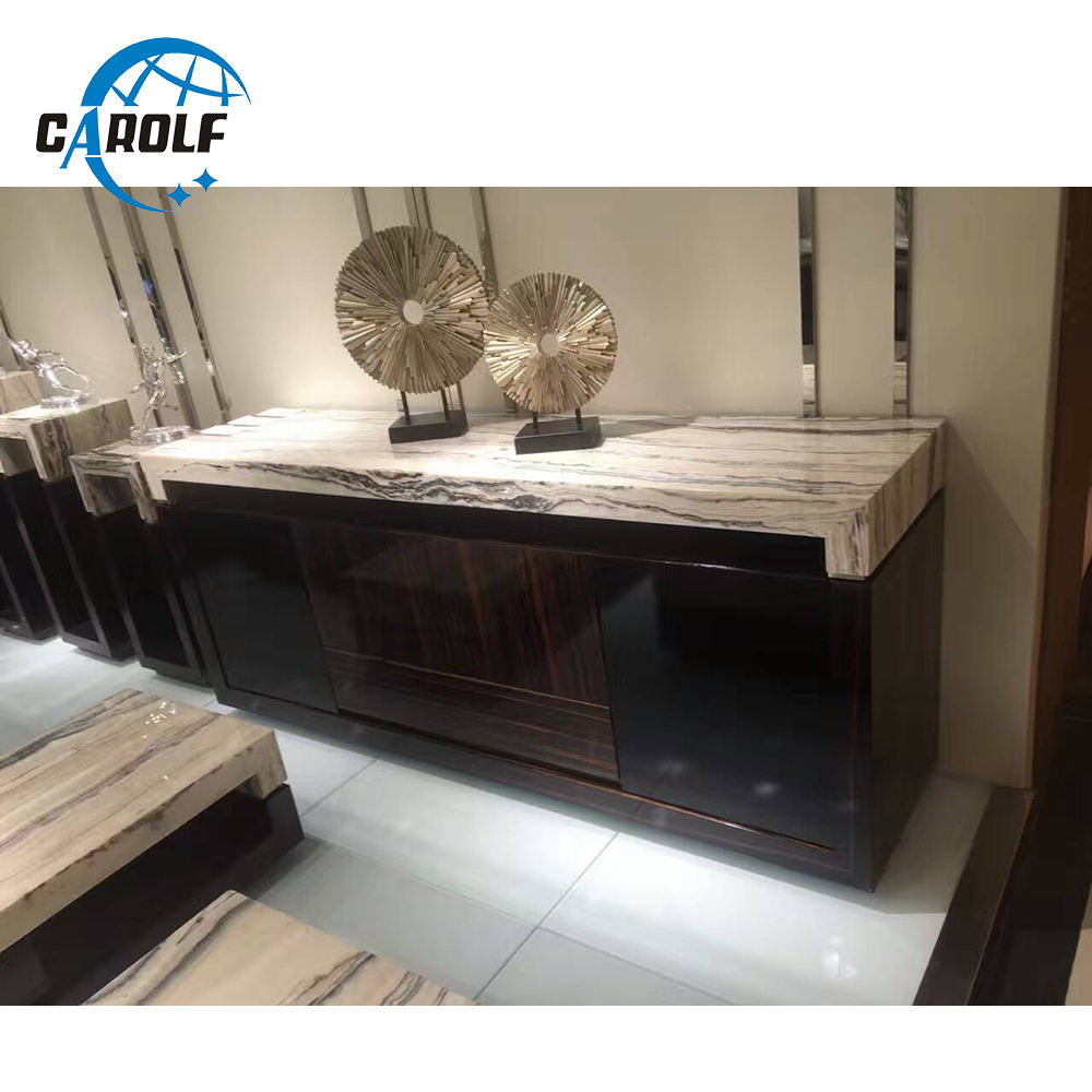 high quality natural marble top wooden sideboard