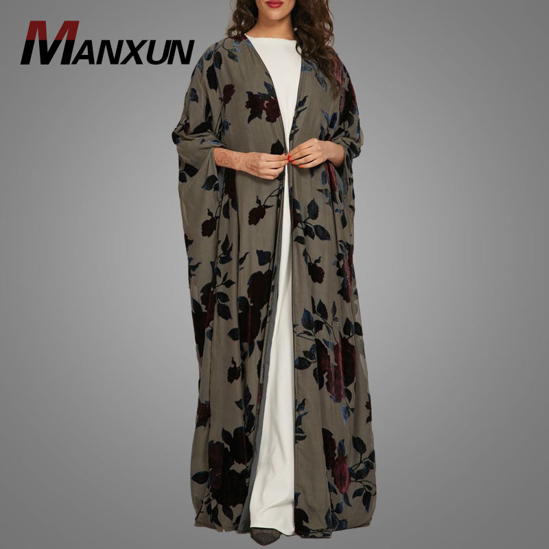 Black Print Floral Kimono Cardigan Elegant Muslim Dress Front Open Abaya Islamic Clothing Arabic Women Maxi Dress