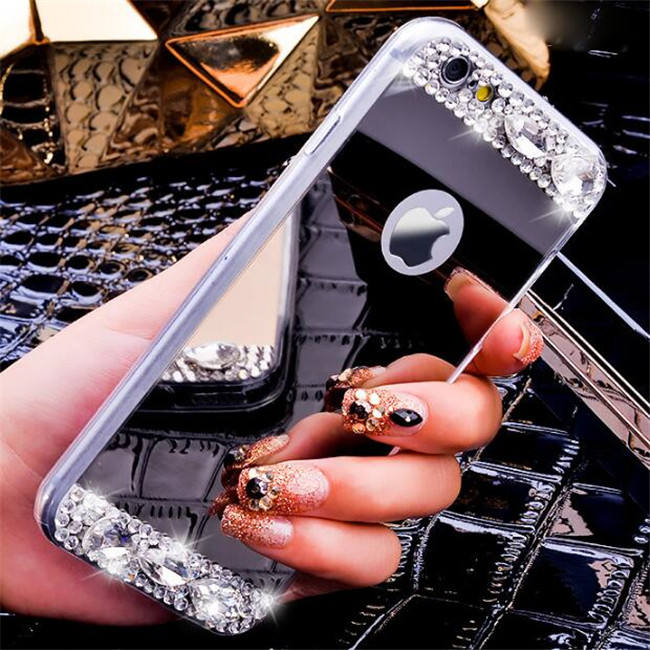 Aluminum Rhinestone Diamond Shiny Gold Silver Tpu Mirror Case Cover For Iphone 6 6s Plus 5 5S Se 7 7 Plus 8 Plus X