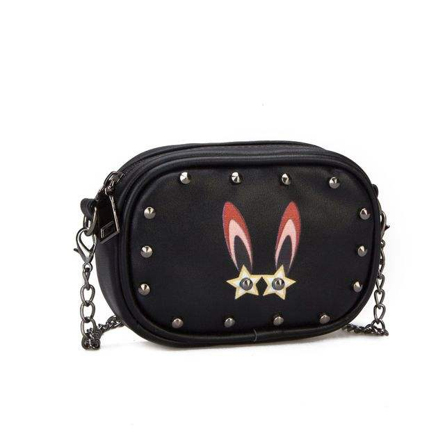 Winter New Cute Rivet Rabbit Shoulder Bag Multicolor PU Trendy Accessory Long Chain Magic Bag