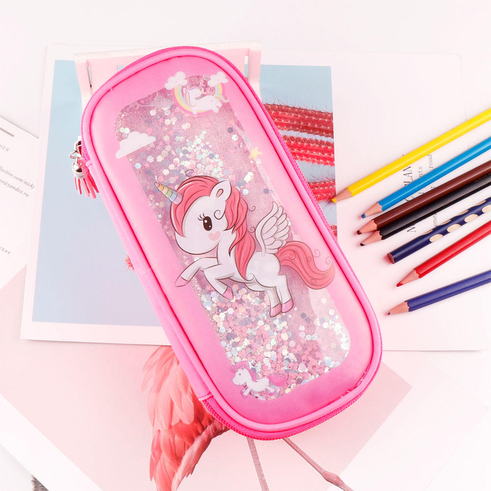 TOPSTHINK NEW Cute girl pencil pouch student stationery quicksand unicorn pouch 1 zipper pencil bag