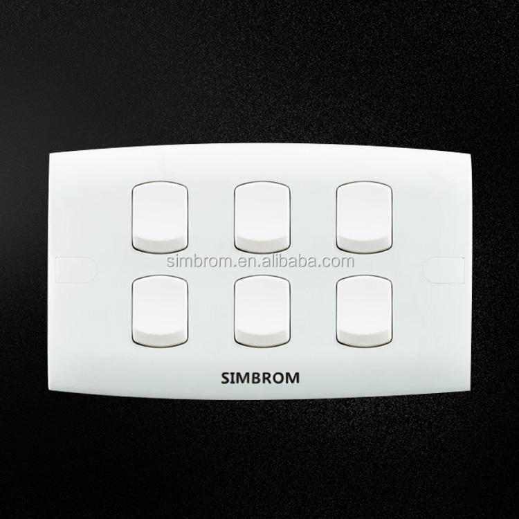 China supplier wall light 10A switches 6 gang button switch socket