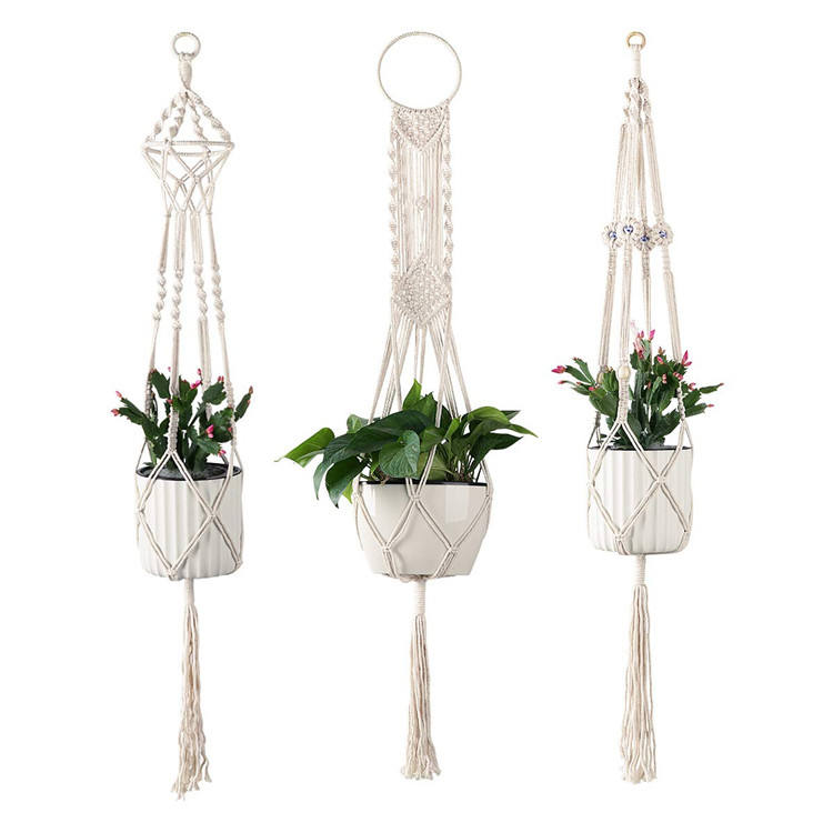 Macrame plant hanger indoor outdoor cotton plant hanger