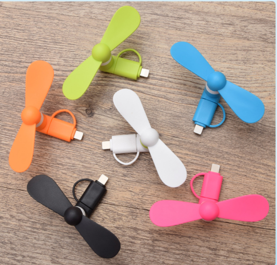 Low Noise 3 in 1 Micro Type -C Portable Cell Phone Fan Small USB Mobile Smart Handy Mini Fan for iphone 7 8 X