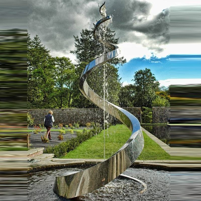 Modern Art Garden Fountain Customized Stainless Steel Outdoor Sculpture