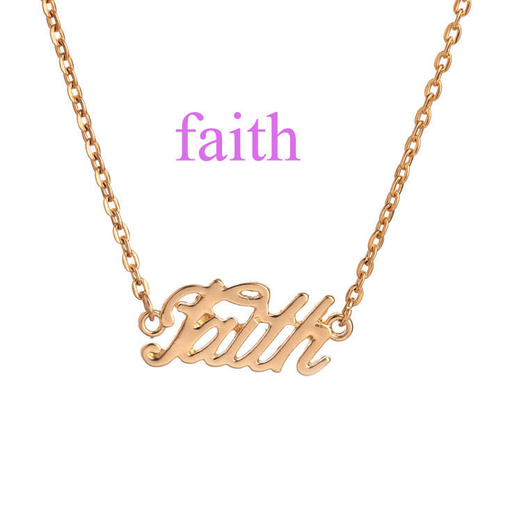 New Arrival Gold Plated Clavicle Chain Letter Necklace Silver Gold Faith Letter Pendant Necklace