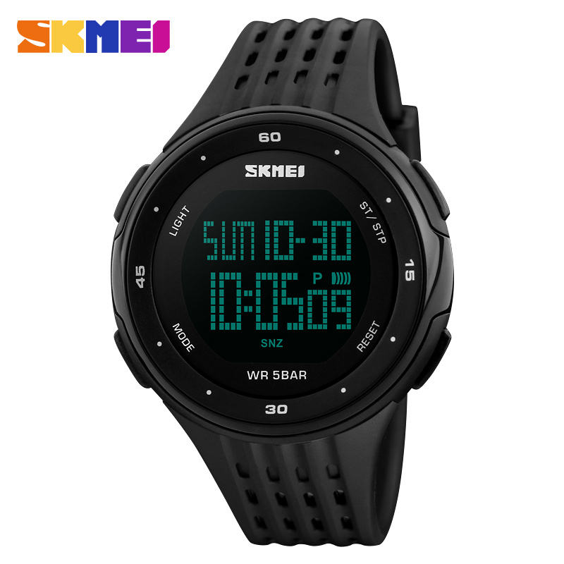 "2018 new arrival skmei 1219 fashion simple digital sport watch with japan mov""t Auto Date jam tangan for man oem display watch"