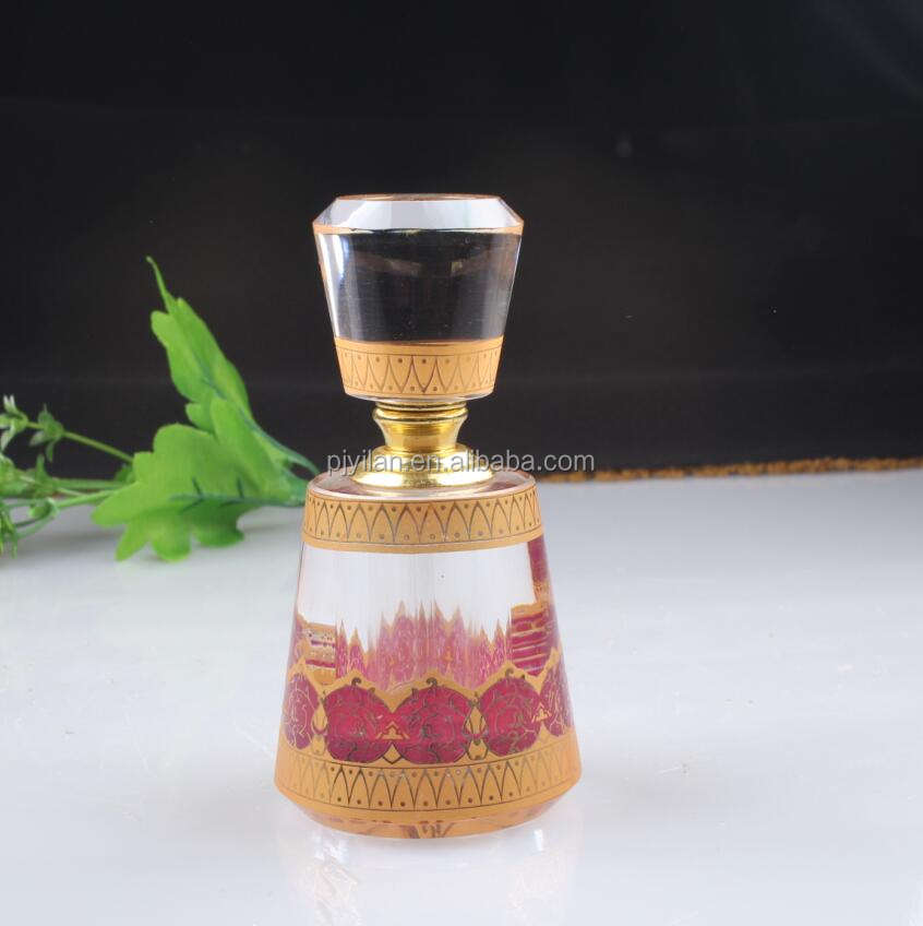 Natural High Quality Gemstone Essential Oil Rhombus Arabia water bottle Islam Crystal Perfume Bottle