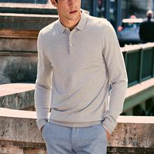 Winter Long Sleeve Polo Shirt Collar Winter Pullover Sweater Men