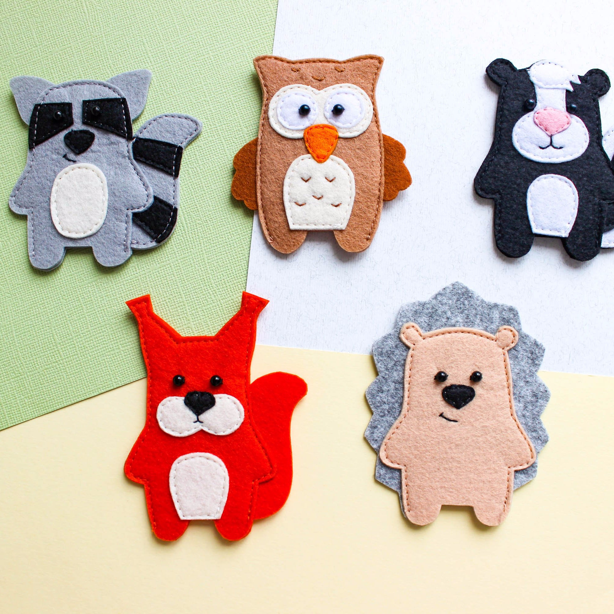 Forest animals toy set Woodland animals finger puppets, Felt finger puppets