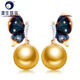 14K Real Gold Elegant Butterfly Earring 10-11mm Golden South Sea/Black Tahitian Saltwater Pearl Earring For Women