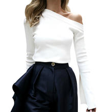 Spring Off Shoulder Sweater Women Puff Sleeve White Sexy Sweaters