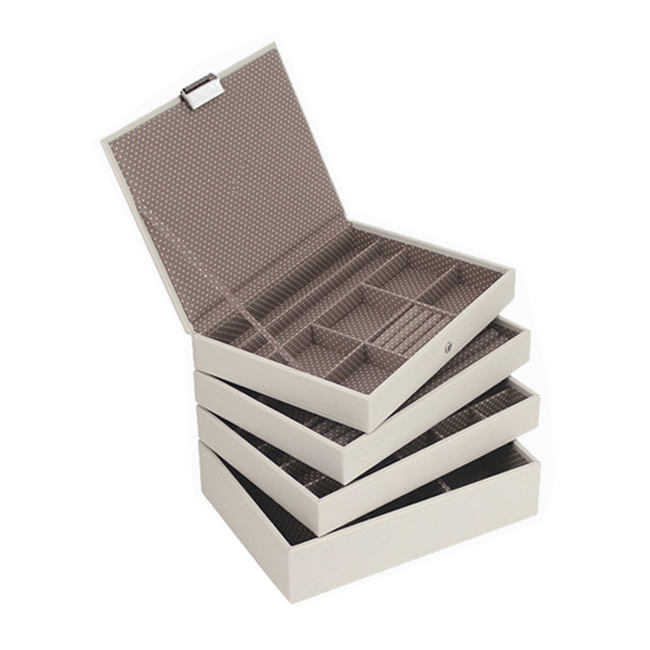 Europe most popular wooden white leather Stackers jewelry boxes for women