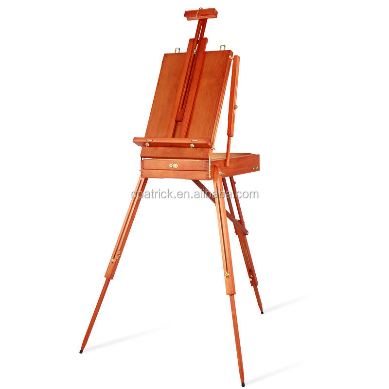 2020 log beech Portable Artist Painters Easel Box with leather handle mini wood easel