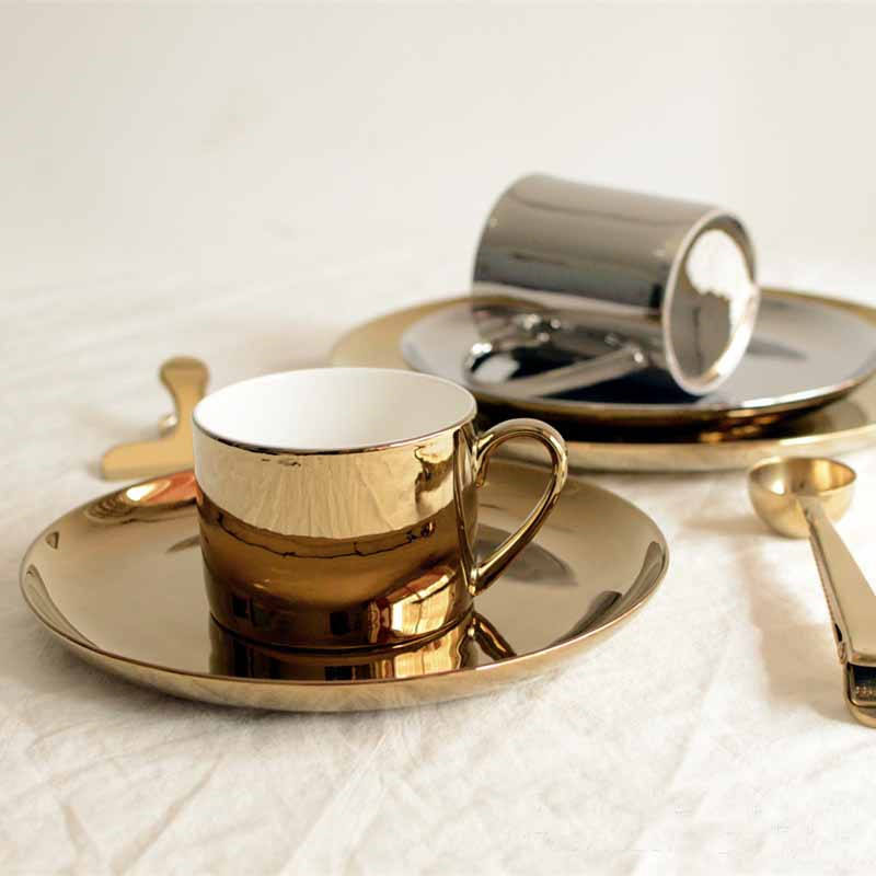 P167 Ceramic Gold Coffee Tea Mug Porcelain Breakfast Cup and Plate Serving Set