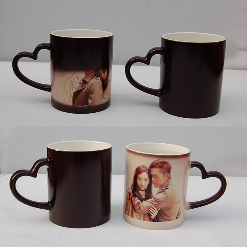 P178 11oz Heat Sensitive Color Changing Magic Black Sublimation Ceramic Coated Heart Handle Mug