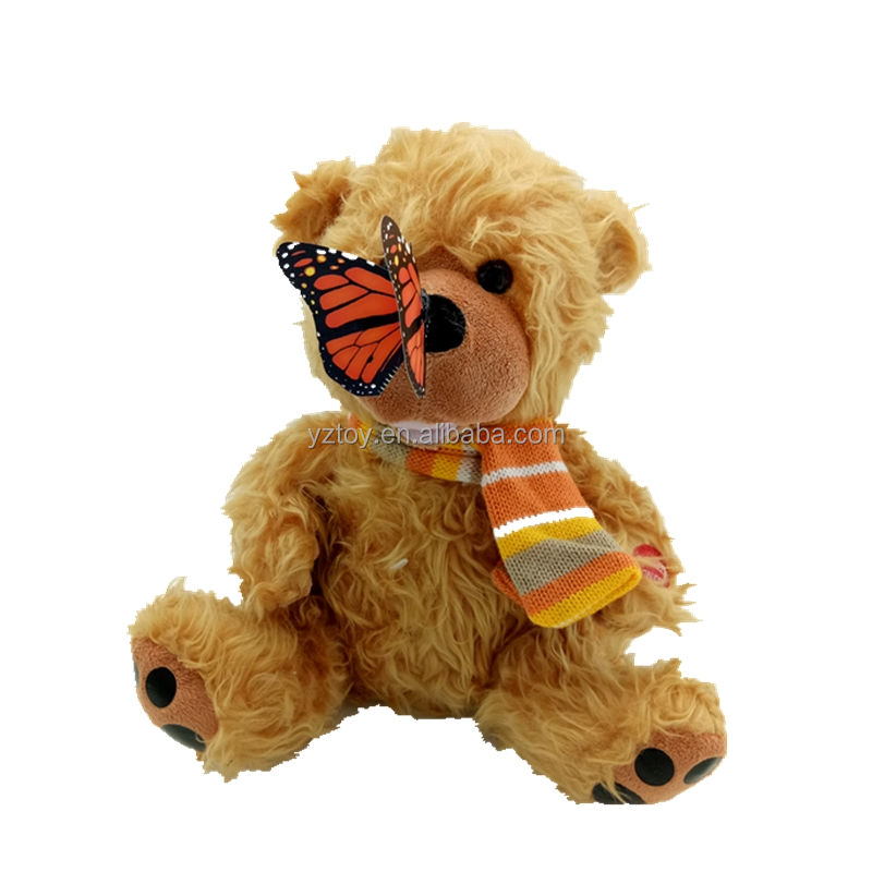Free shipping cute singing electronic educational butterfly teddy bear plush toy