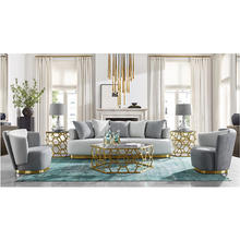 custom designs modern gray luxury furniture living room setentertainment  wooden fabric sofa chair unit set