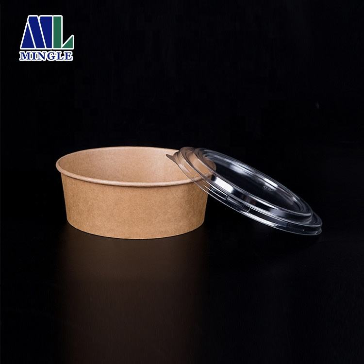 32oz 1000ml Kraft Paper Salad Bowl Disposable Bowls with Lid