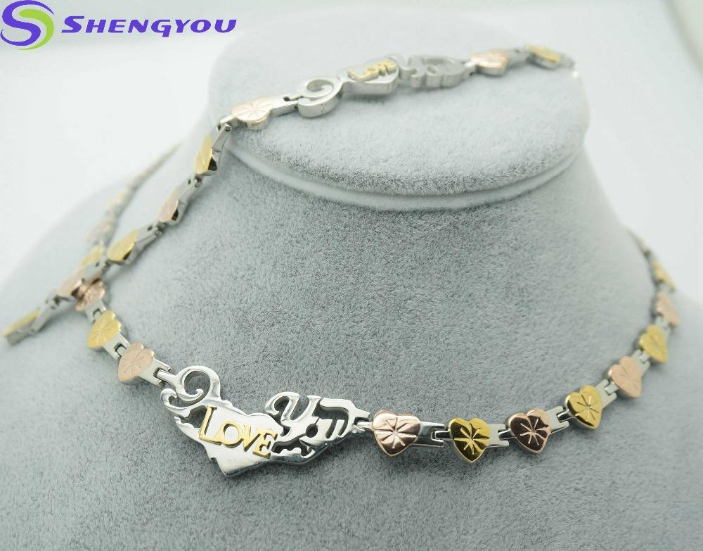 Fashionable 316L Stainless Steel Jewelry Gold And Rose Gold Two Tones Heart Shaped Women Jewelry Set