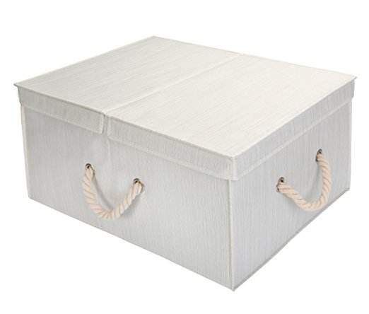 Bedroom folding polyester storage box with double-open lid and cotton rope handle