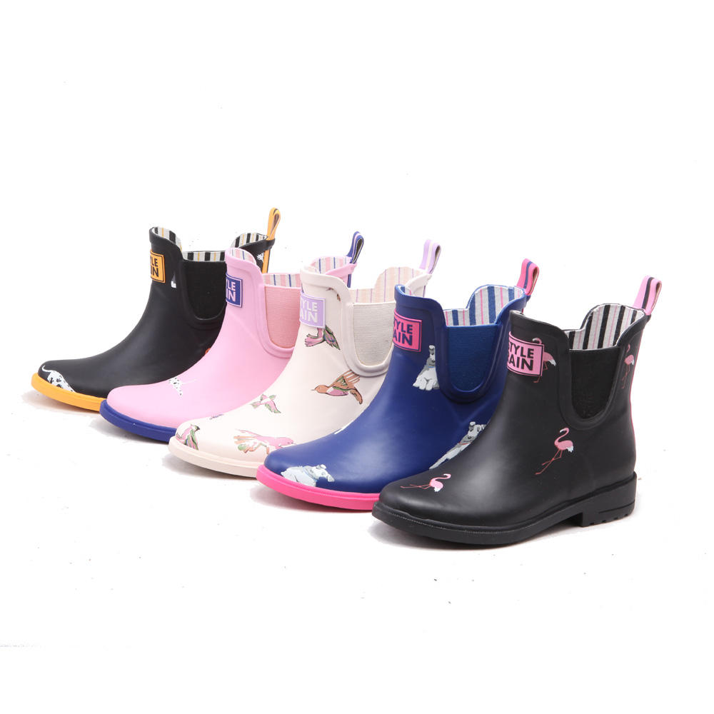 chelsea western style adult sizing natural rubber ankle elastic bands flamingo print high heel galoshes overshoes rain boot