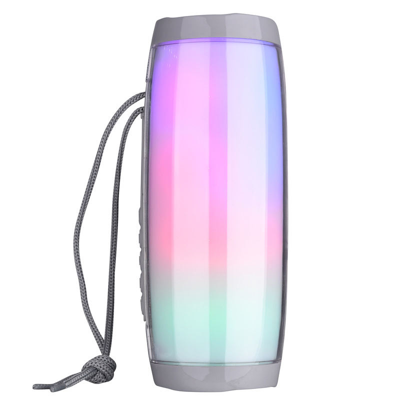 Mini Led Colorful Lights Pulse Wireless Bass Speaker Radio Audio Acrylic Subwoofer Dj Speaker